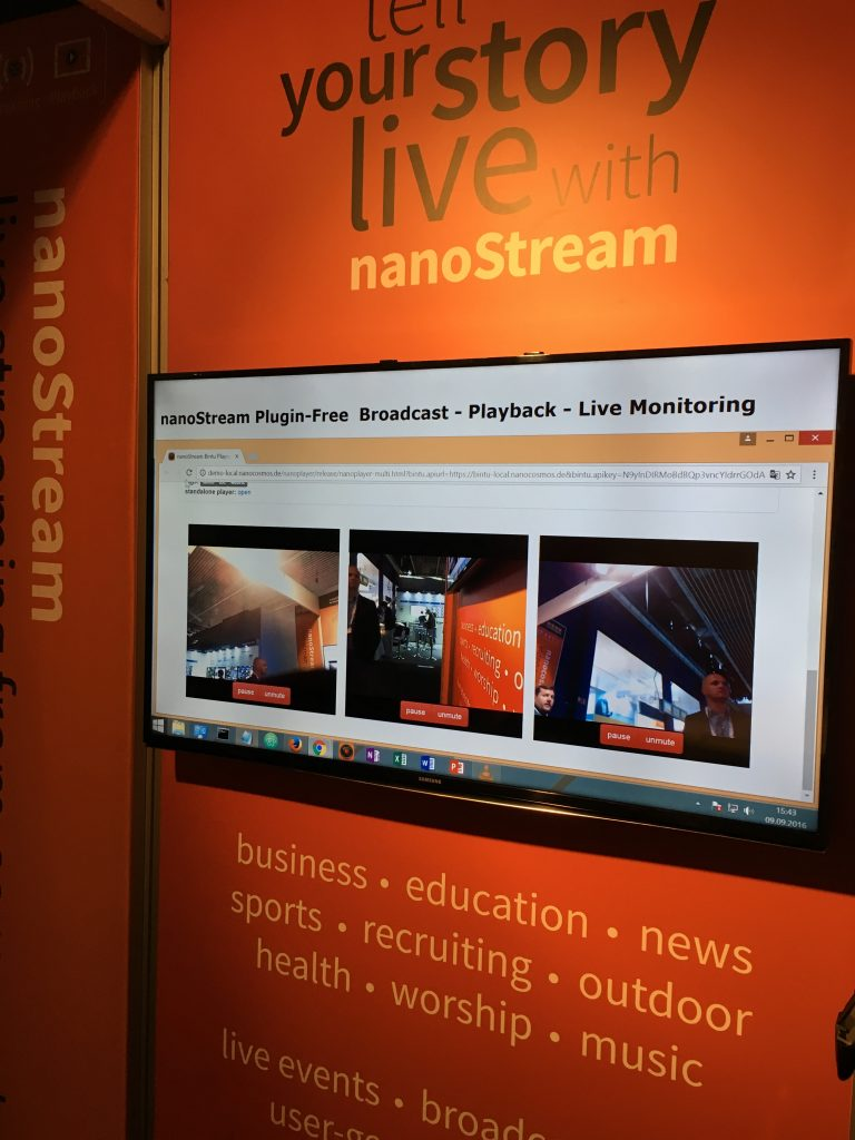 Video presentation at the IBC booth. Simultaneous showing of several live streams.