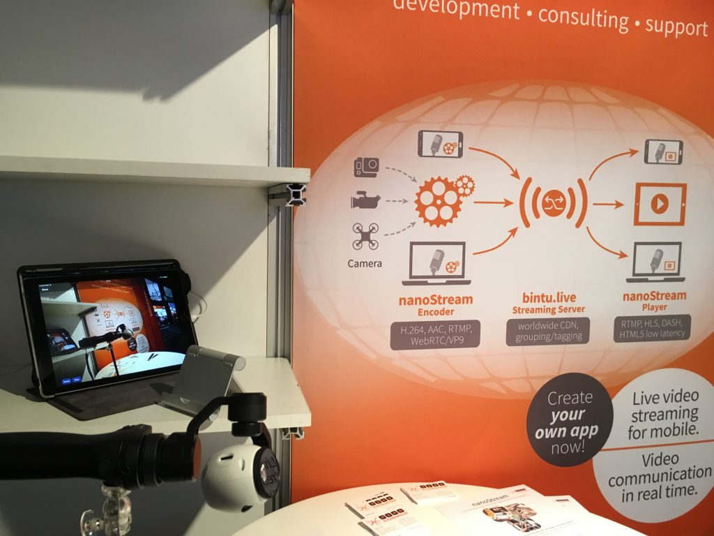 Our booth at the IBC and the complete nanoStream live streaming solution.