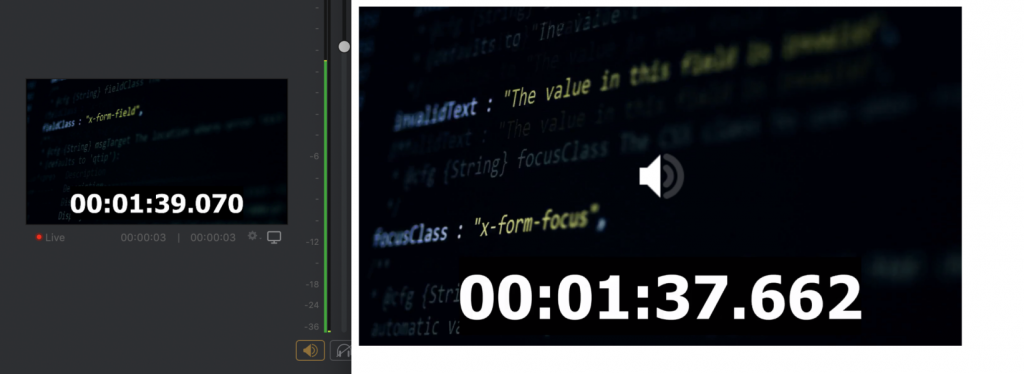 1.408 seconds of latency: Wirecast broadcast time (left), Browser playback (right)